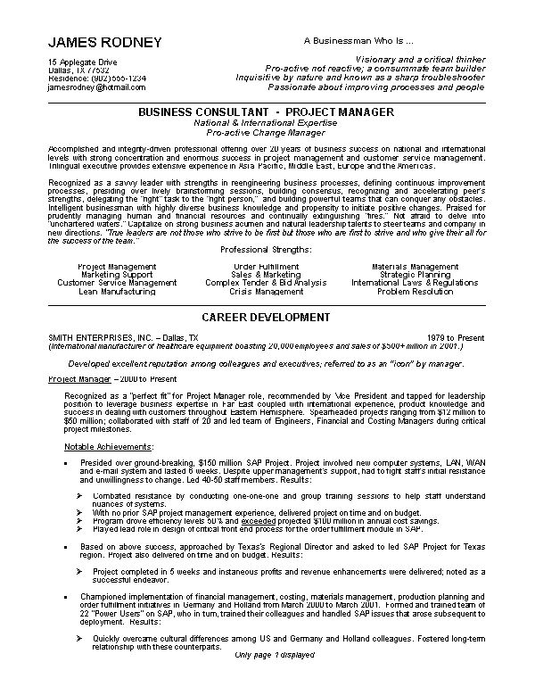 32 best resume example images on pinterest sample resume resume manager resume objective - Resume Objective For Project Manager