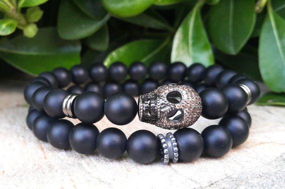 Mens Skull Jewelry, Matte Black Onyx Men's Skull Jewelry Day of the Dead Skull Bracelet 2x Mens Gold Skull Bracelet