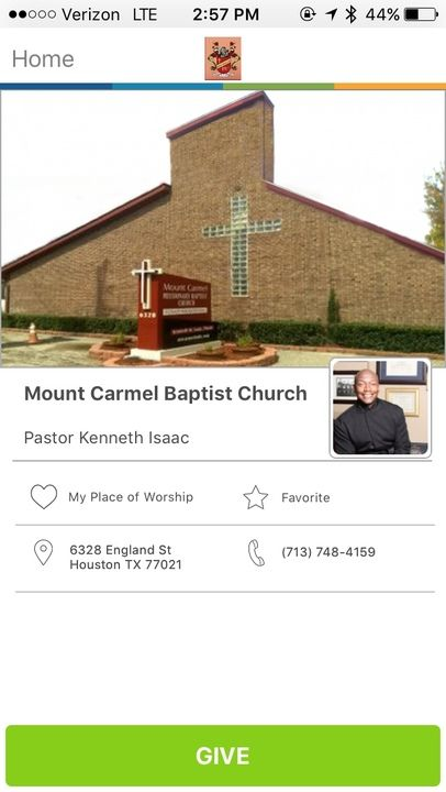 Mount Carmel Baptist Church in Houston, Texas.  #GivelifyChurches