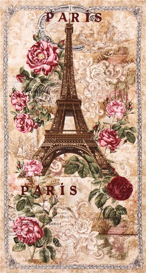 Rosas Postal Decoupage Beige Paris Eiffel Tower Roses Panel Vintage Fabric Timeless Treasures 1