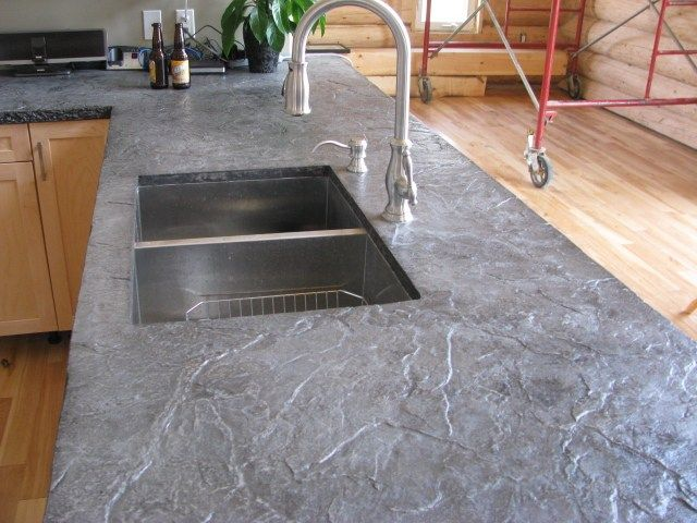 Roman Slate Texture Concrete Countertops After Being Hard Troweled. The  Edges Formed To Look Like