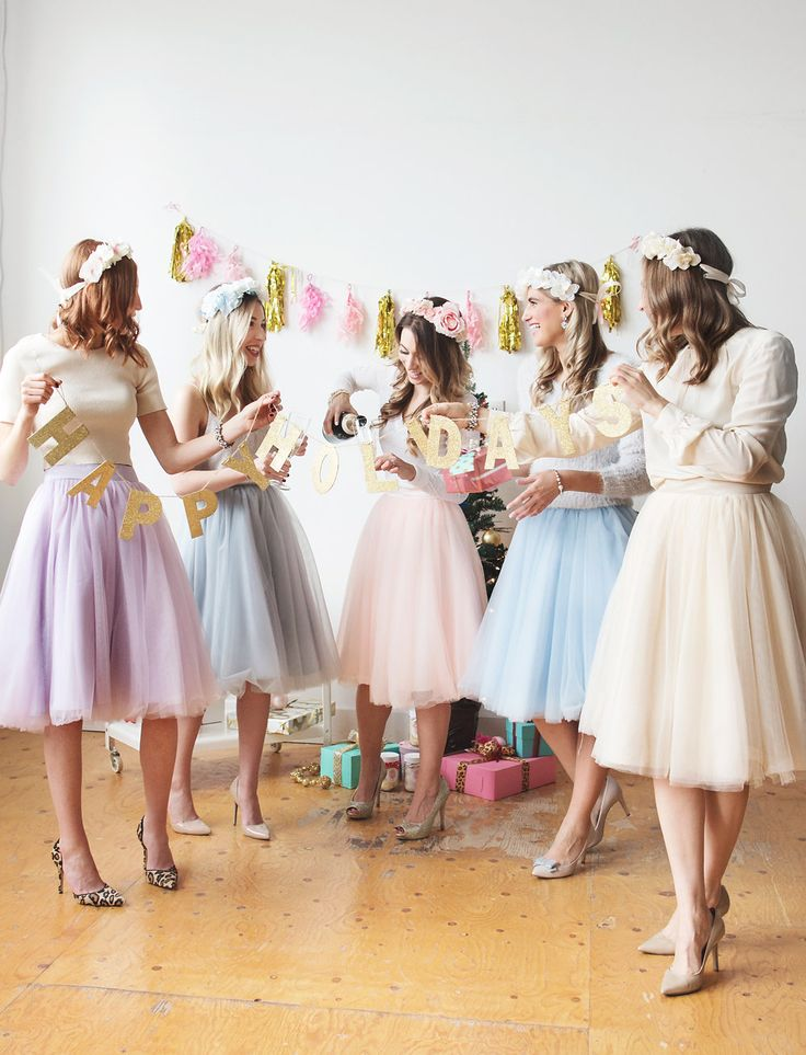 Pastel tulle skirts, heels and floral crowns. The perfect holiday celebration with girlfriends. #pasteldressparty