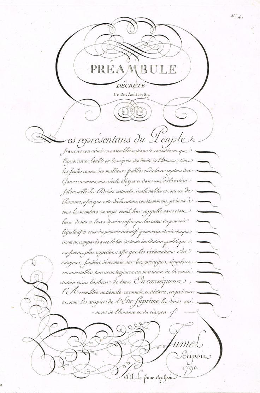 Préambule décrété le 20 Août 1789 MAS Estampes Anciennes - Antique Prints