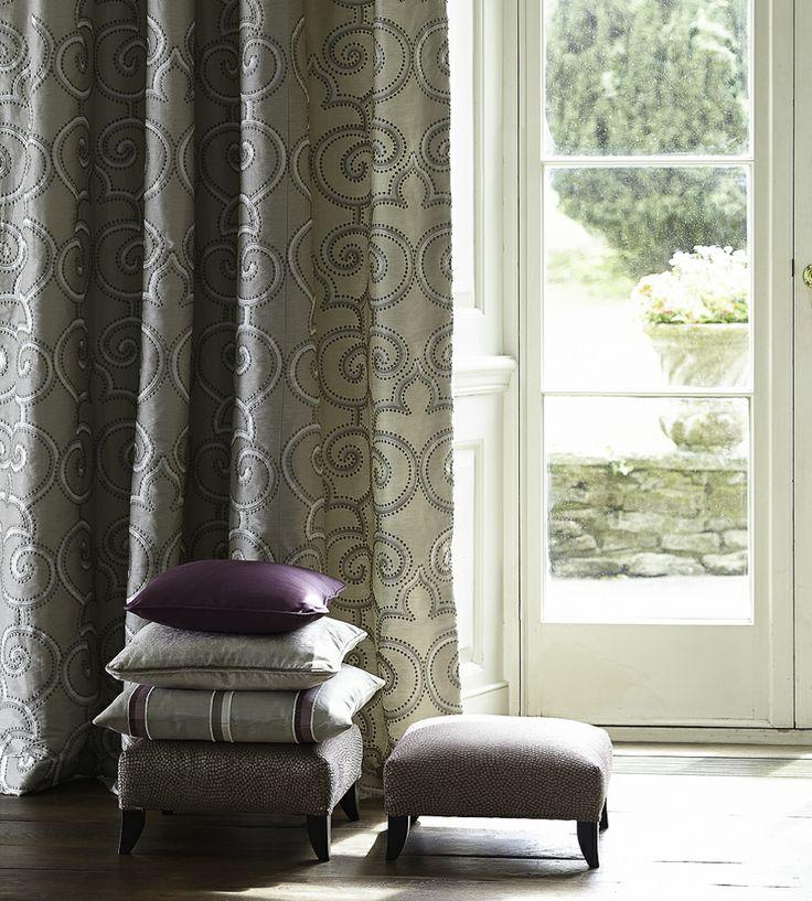 Autumnal Tones, Flint   Parterre Fabric by James Hare   Jane Clayton
