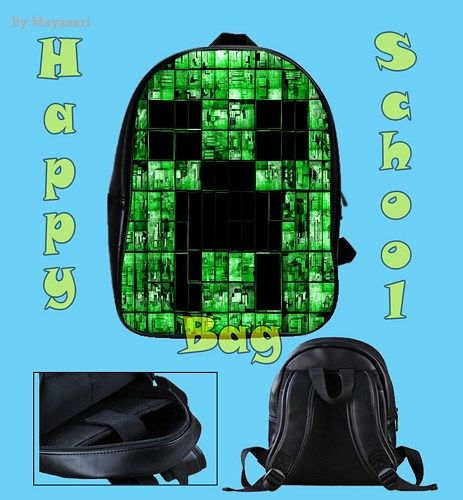 Custom School Bag - new Minecraft Creeper Face Bag  This high-quality  school bag is the perfect accessory for school children. Made from high-grade PU leather. It is the perfect way for children to c