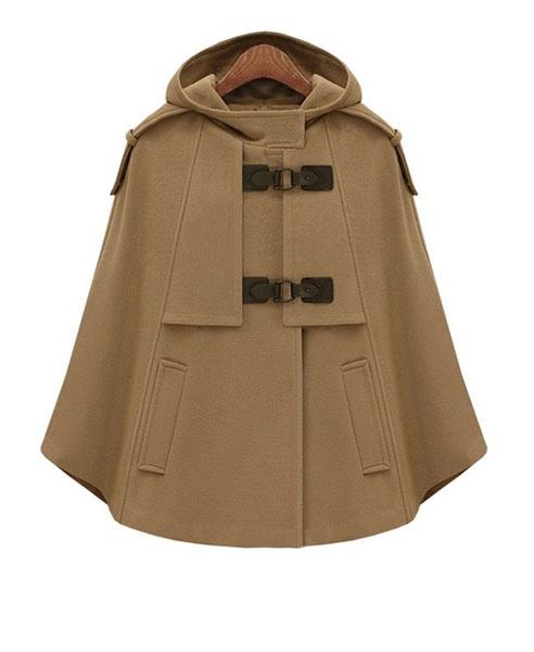 Dark Camel Woollen Coat with Cape Design