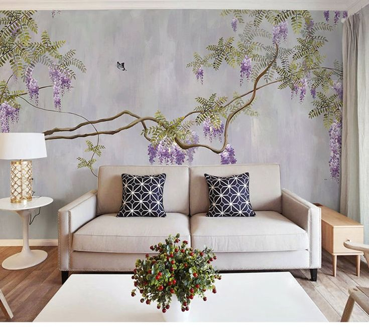 Pittura a olio viola vite Glicine tappezzeria murale ...