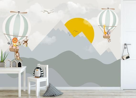 Kids Wallpaper Mountain Wall Mural Sunrise Wall Print Hot Air Balloon Wall Art Nursery Wall Decor Ch Kids Room Murals Nursery Wall Decor Wall Murals