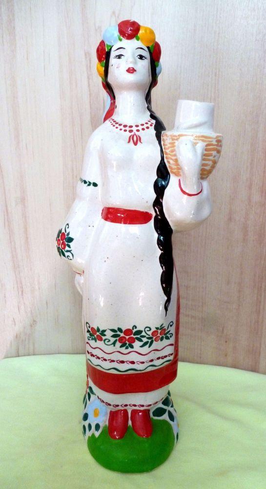 """Empty Bottle Decanter of """" Poltovchanka """" from under Ukrainian vodka - ceramics"""