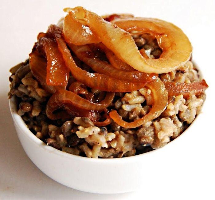 Mujadara Recipes - Authentic Lebanese Mujadara with Rice, Lentils, Onions