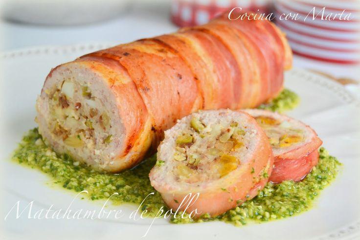 Rollito de pollo y jamón relleno. Receta casera, fácil y rápida.