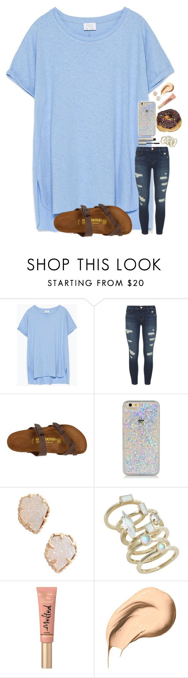"""""""blue ain't your color"""" by ab1525 ❤ liked on Polyvore featuring Zara, J Brand, Birkenstock, Kendra Scott, Too Faced Cosmetics, Bobbi Brown Cosmetics and Ilia"""