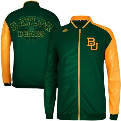 Just like the Bears: adidas #Baylor Men's Basketball On-Court Full Zip Warm-Up Jacket - Green