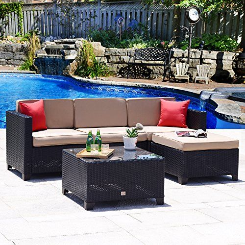 Best Cloud Mountain Outdoor Sectional 5 Piece Wicker Patio 400 x 300