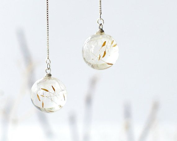 This crystal resin ball earrings made with real dandelion seeds. A dandelion seeds captured inside a crystal resin ball as a reminder of all your