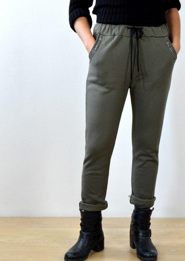 Παντελόνι Φόρμα με Χάντρες στις Τσέπες - ΧΑΚΙ | shop online: www.musitsa.com