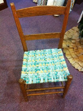 I really love this simple woven chair-do this with the wooden kids chair I have