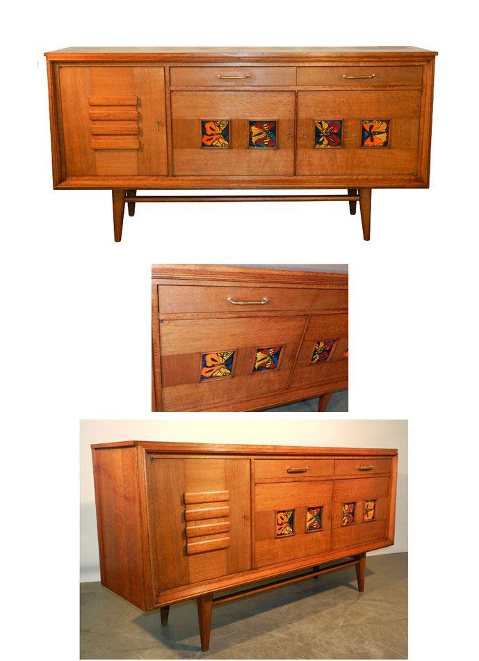 travail francais 1950 bahut en chene et placage de chene decor de 4 carreaux en ceramique. Black Bedroom Furniture Sets. Home Design Ideas