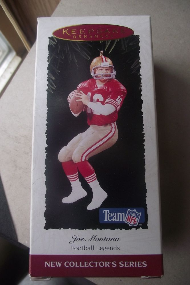 Joe Montana Handcrafted Hallmark Keepsake Christmas Ornament Team NFL 49ers Foot
