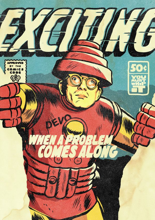Mark Mothersbaugh of Devo as Iron Man All-New Superpowered Post-Punk Marvels is a new and awesome illustrated project by Brazilian designer Butcher Billy that reimagines famous post-punk and new wa…