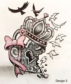 A cool heart locket with broken-hearted, crown and birds flying away with pink bow  Idk why but I really like this