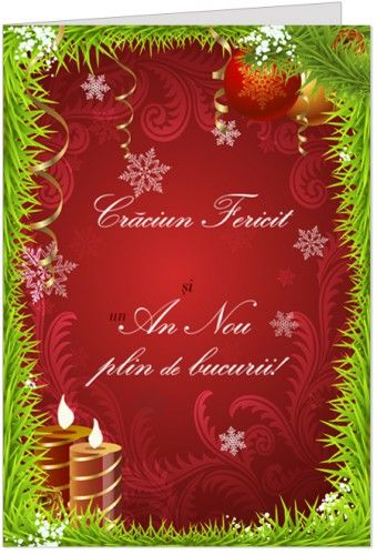 """Felicitare de Craciun cu globuri Felicitare de Craciun personalizabila, cu urarea """"Craciun Fericit si un An Nou cu bucurii!"""""""