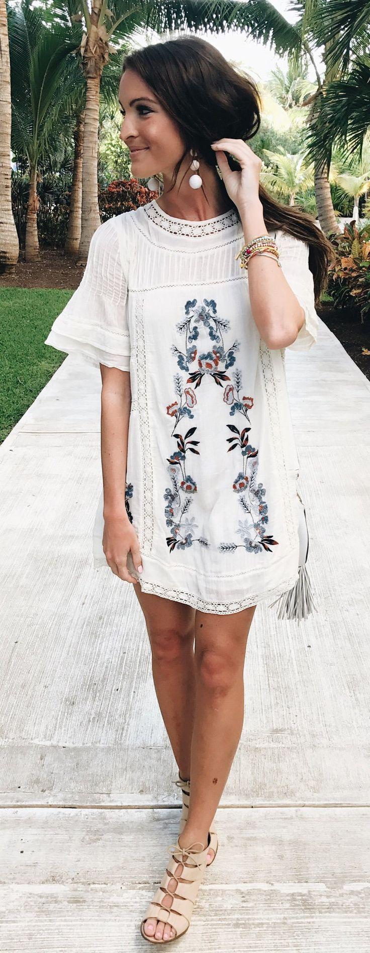 White Printed Dress & Beige Pumps