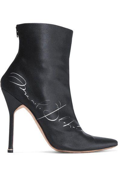 Vetements - Manolo Blahnik Printed Satin Ankle Boots - Black - IT