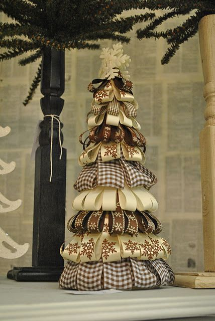 ribbon tree  how cute and easy to make!: Holiday, Diy Cone Christmas Tree, Christmas Crafts, Burlap Christmas Tree, Christmas Decor, Christmas Ribbon Craft, Christmas Trees
