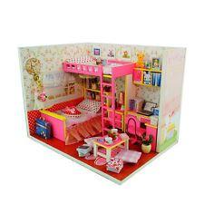 Kits de Madera Casa de Muñecas en Miniatura hágalo usted mismo Casa Habitación Con Muebles + tapa Rosa Dulce Habitación