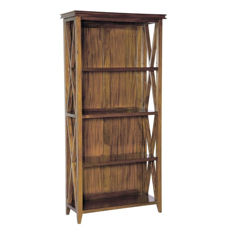 Wooden Open Bookcase 4 Shelf Glossy Brown Mahogany Colour Living Room Furniture