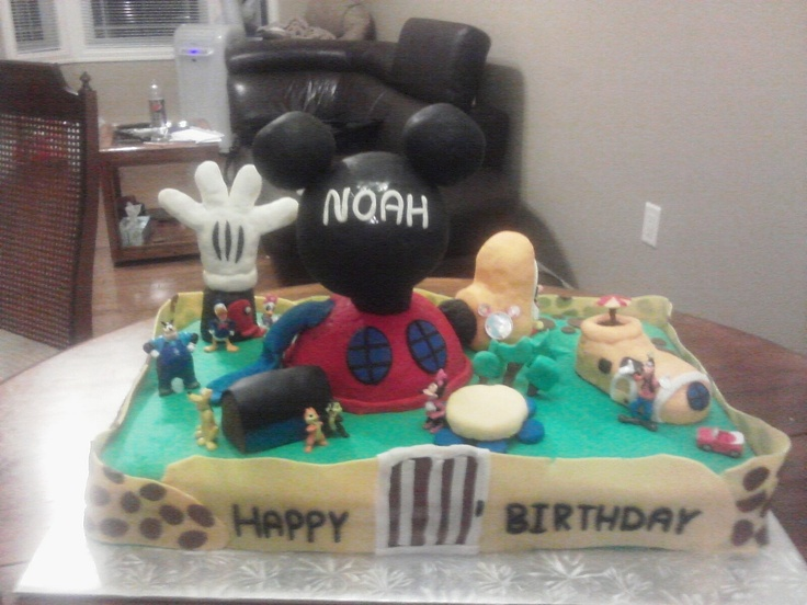 Mickey mouse club house cake i made for my grandson 3rd Birthday