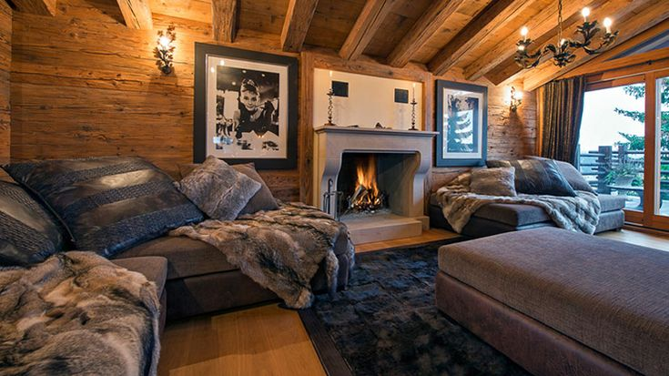 Luxury Rustic Living Area with Fire Place