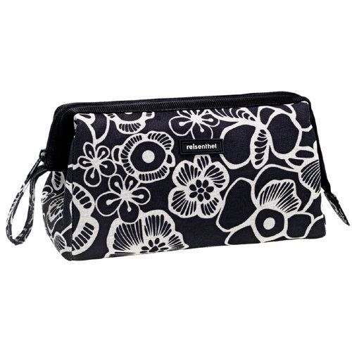 Travel Cosmetics Bag Reisenthel Fleur Black Design Reisenthel. $19.99. additional zipper pocket on the inside for small items. Reisenthel. classic hand strap size: 10 x 5 x 7 inches (LxWxH). 3 loops on the inside for flacons, shaving brush or deodorant. Colour: fleur ash (silver-gray/black)