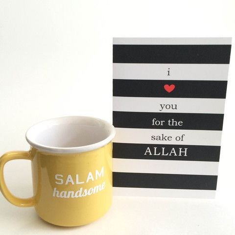 Salam Handsome Mug with Islamic Greeting Card Gift Set