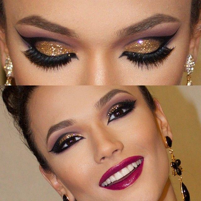 Gold glitter cut crease ✴❤