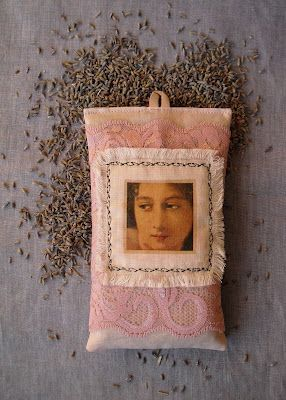 Lavender sachet. Face motive is from paper napkin, attached with decoupage glue.