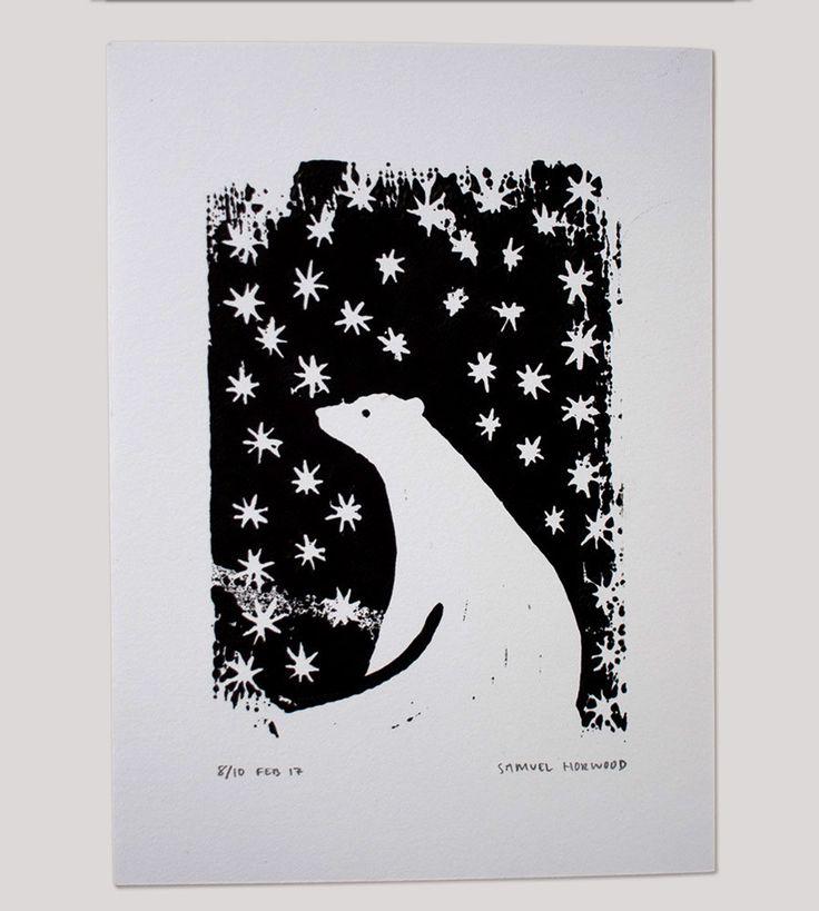 Polar Bear & Stars Art Print by samuelhorwooddesign on Etsy
