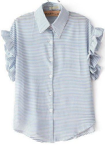 Just perfectly preppy ... Blue Lapel Ruffle Sleeve Striped Blouse US$18.63