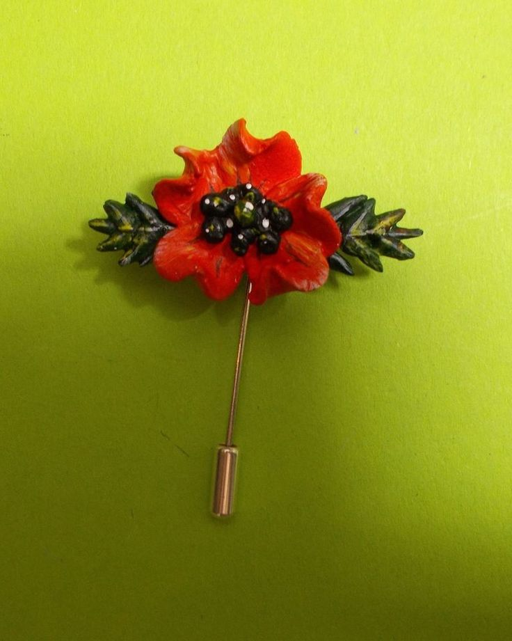 Small RED POPPY PIN Floral REMEMBRANCE Lapel Flower Pin HANDMADE HAND PAINTED  #HandmadeArtistKerryWilliams