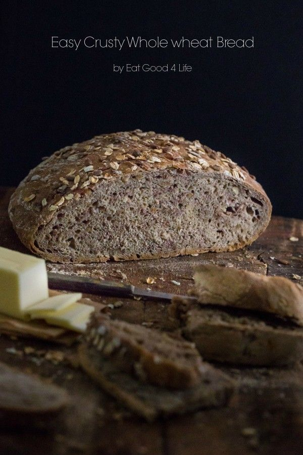 Easy crusty whole wheat bread. This is done in a 6qt dutch-oven. No kneading required. The easiest bread recipe I have ever made!