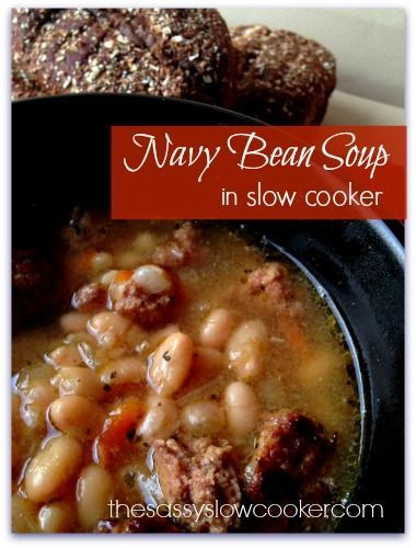 NAVY BEAN SOUP Ingredients:1 lb of dry white beans soaked and drained (navy or northern);2 lb of  meat (ground beef, chicken, turkey, sausage (I used 1lb italian sausage and 1 lb ground chicken) ;1/2 c chopped onion;10 c chicken stock or bullion ;1 can cream of onion soup;1/2 c grated carrot ;Season to taste. Brown meat. Add all ingredients to a 7-8 qt slow cooker and cook on low for 6-8 hours.