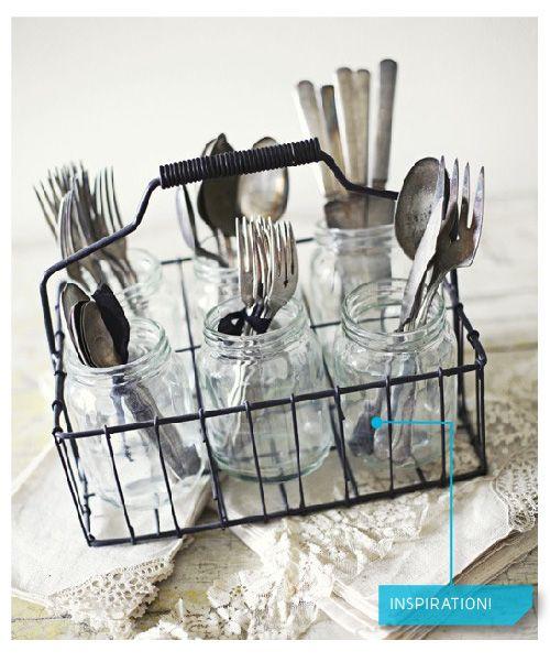 store your utensils in mason jars-- via @Jonathan Nafarrete Lo / happymundane