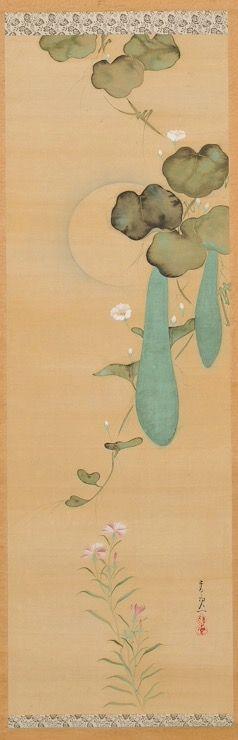 "Suzuki Kiitsu. ""Gourds."" Hanging scroll in Honolulu Museum of Art. One of a pair with ""Morning Glories."""