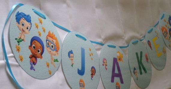 Bubble guppies personalized name banner for birthday party or bedroom hanging decorations - Bubble guppies bedroom decor ...
