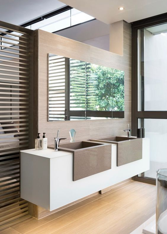 The Art Gallery Modern Bath with top section of wall open to Master Bedroom