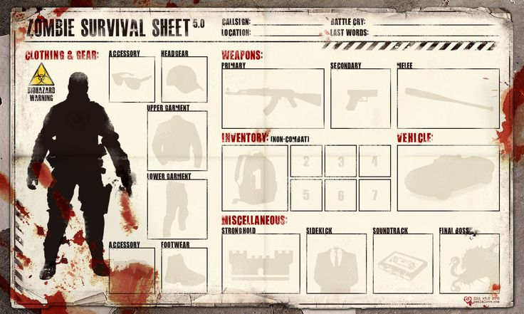Zombie Survival SheetZombies Apocolyp, Survival Kits, Loadout Sheet, Zombies Survival, Zombies Apocalyps, Survival Equipment, Cheat Sheet, Zombies Stuff, Survival Sheet