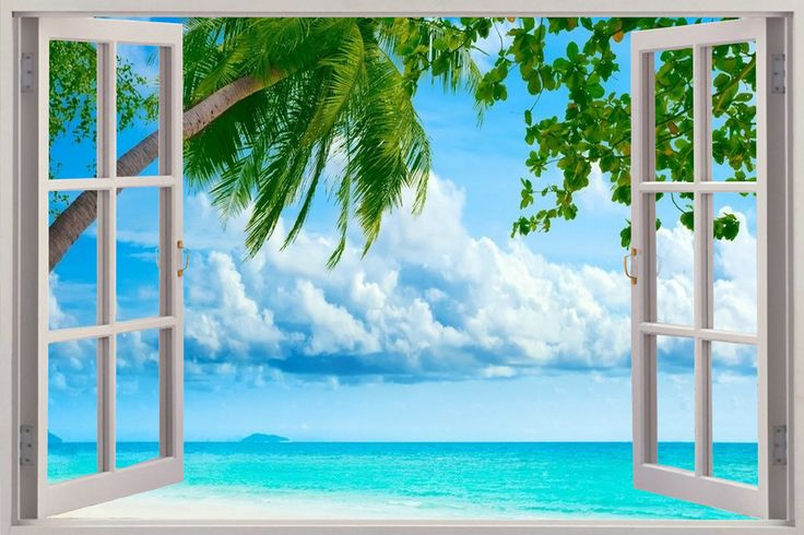 Beach wall murals window scenes bing images bathroom for Beach window mural