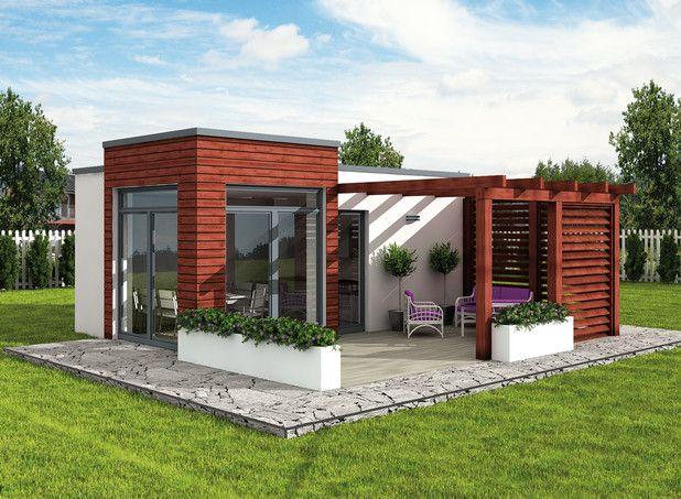 Mały, nowoczesny domek letniskowy, idealny dla dwóch osób. Zobacz rzuty projektu!