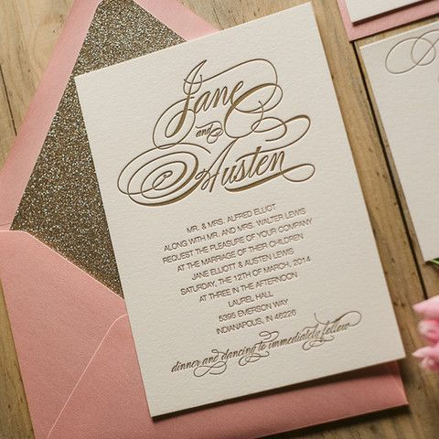 pink, glitter AND gold! this invitation suite has it all #invitations #stationery #glitter http://www.jupiterandjunoshop.com/collections/exclusive-package-discounts/products/bianca-suite-glitter-package